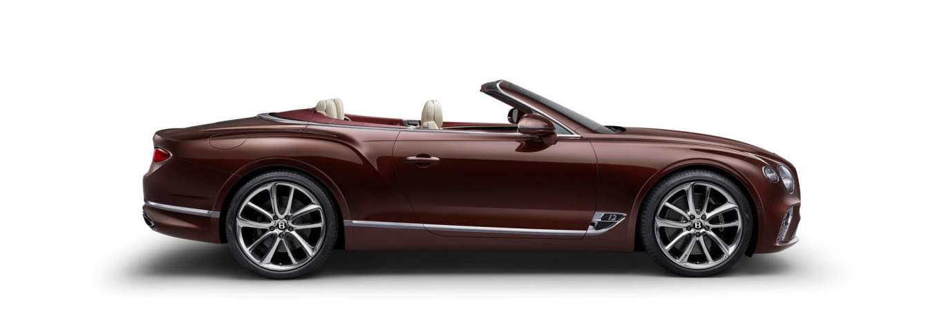 new-Cricket-Ball-red-Continental-GT-Convertible-profile-with-hood-lowered-facing-right-on-white-background