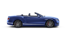 Side view of a Bentley blue Continental GT Speed Convertible with lowered roof | Bentley Motors