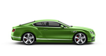Side view of an Apple green Bentley Continental GT Speed with silver wheel rims | Bentley Motors