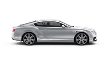Side view of a silver Bentley Continental GT with silver wheel rims | Bentley Motors