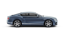 Side view of a blue Bentley Continental GT V8 with silver detail | Bentley Motors