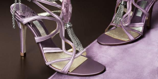 Violet purple high heeled sandals with silver accent detail designed by Kate Spence | Bentley Motors