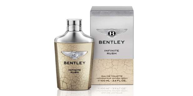 Nude marble and silver bottle and box of Bentley Infinite Rush for Men | Bentley Motors