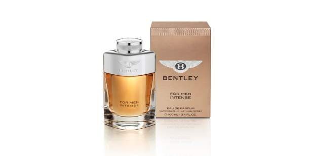 Silver bottle and rose gold box of a Bentley Intense for Men cologne | Bentley Motors
