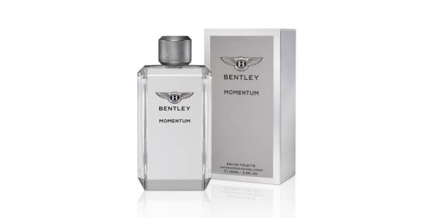 Silver bottle and box of the New Bentley Momentum Fragrance | Bentley Motors