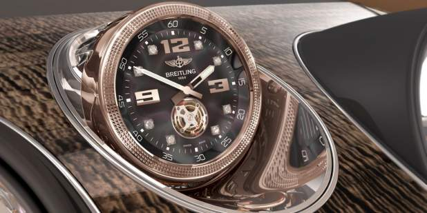 Bronze coloured onboard clock - Mulliner Tourbillion, made by Breitling for Bentley Bentayga | Bentley Motors