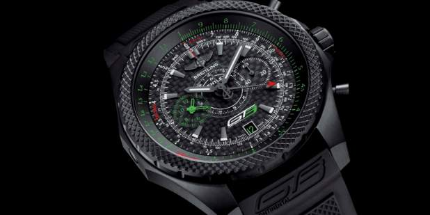 Breitling for Bentley GT3 Chronograph watch face with red and green accents | Bentley Motors