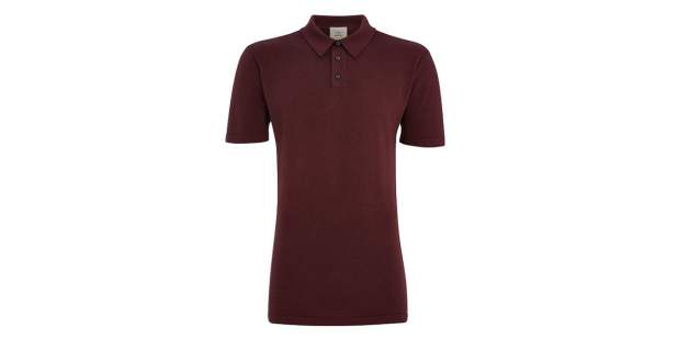 Plum coloured Bentley men's knitted polo shirt from the Iconic Classics collection | Bentley Motors