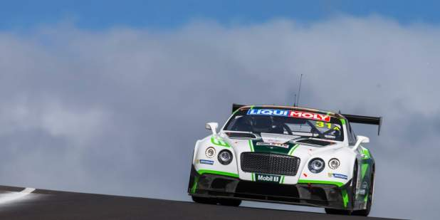 An action shot of a Bentley Motorsport Continental GT3 on a racing track at Bathurst | Bentley Motors