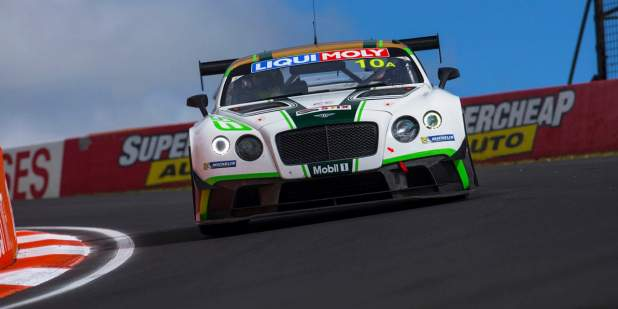 Front action shot of a Bentley Motorsport Continental GT3 on the race track at Mount Panorama 2015 | Bentley Motors