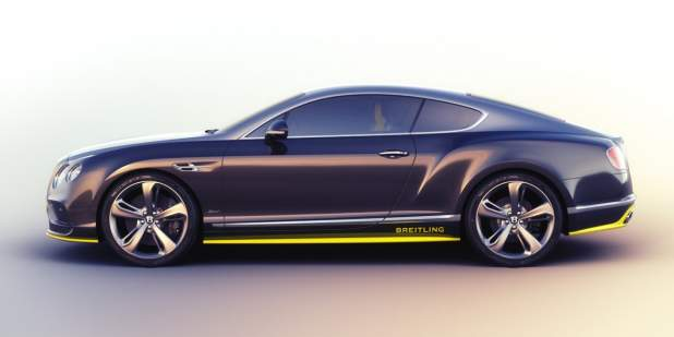 Side profile view of a duo-tone limited edition Bentley Breitling Jet Series Continental GT Speed | Bentley Motors