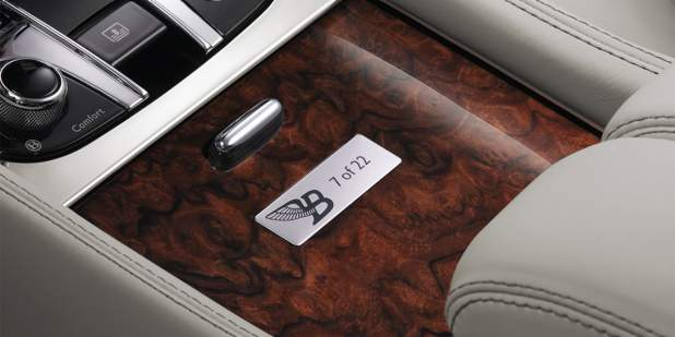 Engraved 'Flying B' badge and '7 of 22' writing on centre console of Bentley Mulsanne Birkin Edition | Bentley Motors