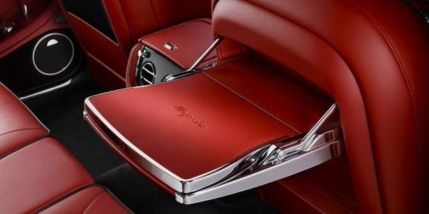 Limited edition light red signature picnic tables with tablet on a Bentley Mulsanne Majestic | Bentley Motors