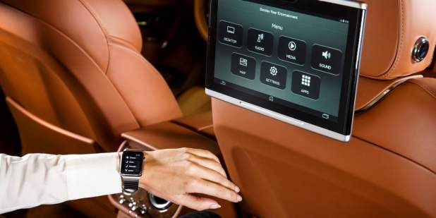 Bentley app on Apple iWatch controlling rear cabin entertainment, massage and other settings | Bentley Motors