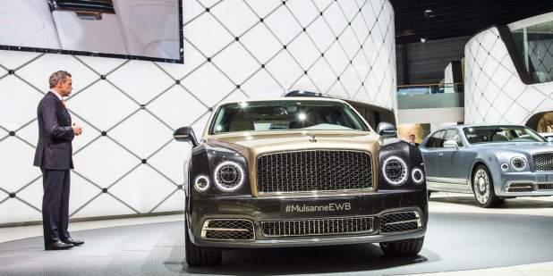 Duo-tone Bentley Mulsanne Extended Wheelbase being presented at the Geneva Motor Show 2016   Bentley Motors