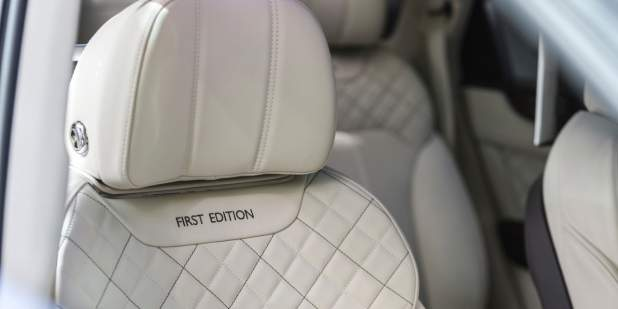 Close Up Of A Grey White Headrest In Bentley Bentayga First Edition