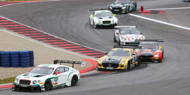 Bentley Motorsport Continental GT3 car leading the race on a racing car track at the ADAC GT Masters | Bentley Motors