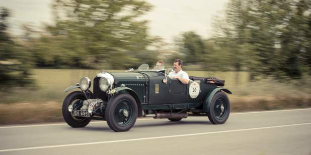 "The Bentley ""Blower"" on the road at Mille Miglia 2014 