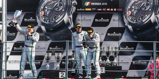 Smith, Meyrick and Kane celebrating their race success at Monza 2015 | Bentley Motors