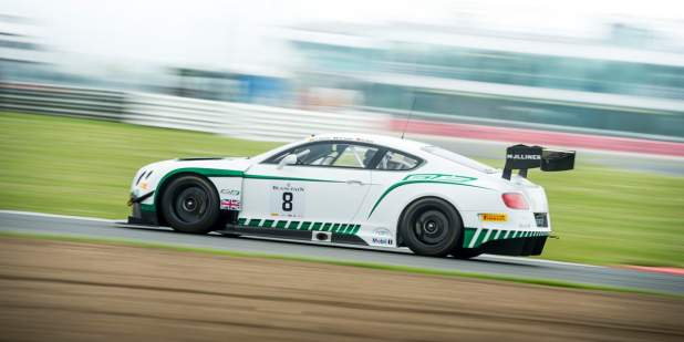 Side view of a racing Bentley Continental GT3 at Silverstone | Bentley Motors